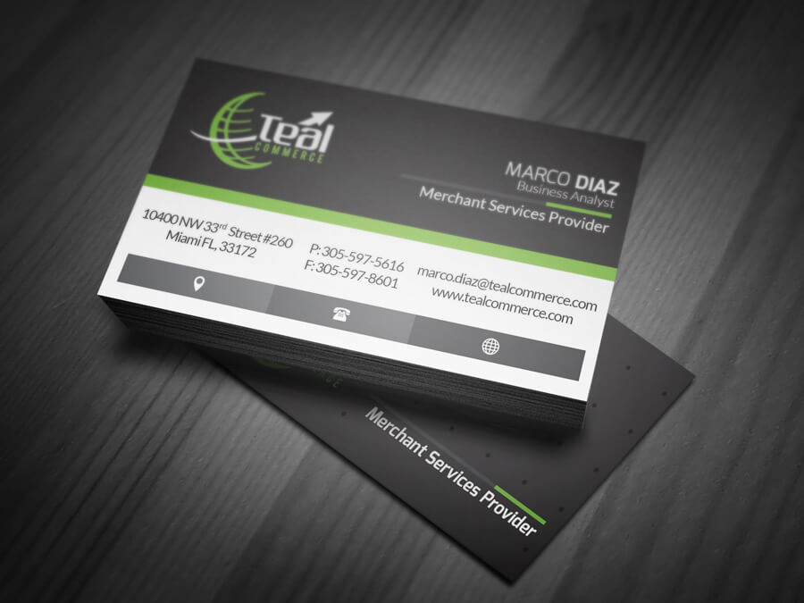 Tealcommerce business cards web miami for Business card miami